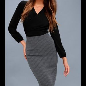 Michael Kors Charcoal Stripe Pencil Skirt ~Size 14